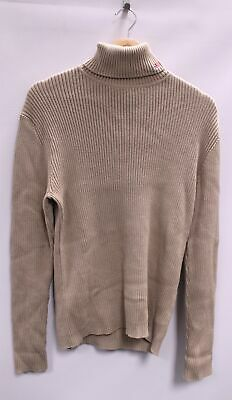 RALPH LAUREN POLO JEANS Beige Ribbed Cotton Polo Roll Neck Jumper M - S36