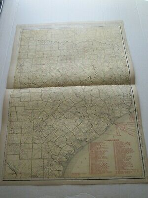 ONE (1) 1923 RAND McNALLY; STANDARD & RAILROAD MAP of TEXAS, EAST; GREAT DETAIL