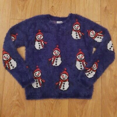 NEXT Fluffy Girls Christmas Jumper Age 10 or 10 - 11 Exc Cond