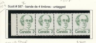 Canada Rare # 587T Vf-Mnh Untagged Error Strip Of 4 Cat Value $300