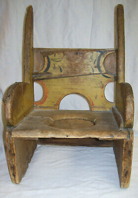 Antique Early Primitive Child's Potty Chair Worn Mustard Paint & Stenciling