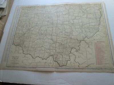 ONE (1) 1923 RAND McNALLY; STANDARD & RAILROAD MAP-LOWER OHIO; GREAT DETAIL
