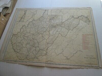 ONE (1) 1923 RAND McNALLY; STANDARD & RAILROAD MAPof WEST VIRGINIA; GREAT DETAIL