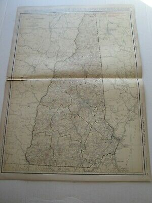 ONE (1) 1923 RAND McNALLY; STANDARD & RAILROAD MAP, NEW HAMPSHIRE; GREAT DETAIL