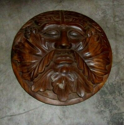 """Vintage Keeper of the Forest TEAK Wood Carving 11 5/8"""" DIAMETER  4"""" thick SHARP"""