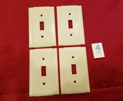 4 Ivory Vtg Ribbed Deco Single Gang P&S Switch Cover Plates Bakelite - BB4