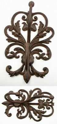 CAST IRON-Large Ornate Double Wall Coat & Hat  Hook  French Country DECOR