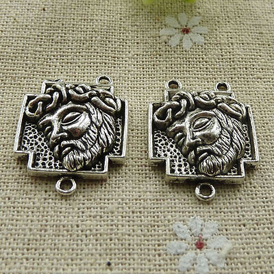 Free Ship 80 pieces tibetan silver rosary Jesus connector 27x21mm L-308