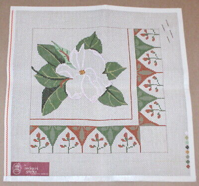 "Needlepoint Graphics ""White Magnolia w/ Flowers"" Handpainted Canvas"