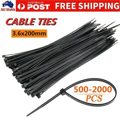 Cable Ties Zip Ties Nylon UV Stabilised 500/1000 Bulk Black Cable Tie 3.6x200mm