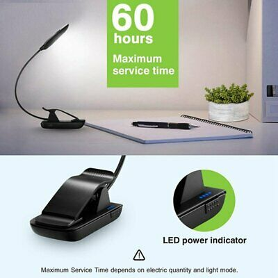 Rechargeable LED USB Stand Light Clip On Desk Bed Reading Book Lamp Portable AU