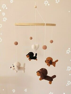 Handmade Crochet Dachshund Baby Mobile Nursery Decor Baby Shower Crib Cot Mobile