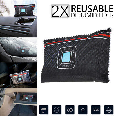 2 X  ECO CAR DEHUMIDIFIER LARGE DRY HOME REUSABLE MOISTURE DAMP ABSORBER PAD BAG