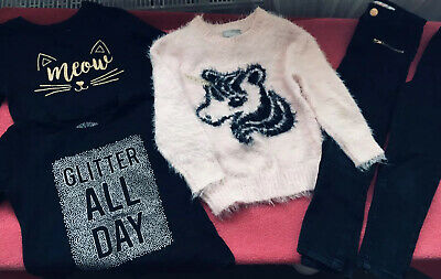 Girls Clothes Bundle age 4-5 Yrs Top Pink Jumper Blk Jeans Unicorn Sparkle Cat