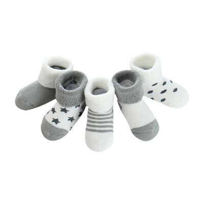5 Pairs Warm Baby Socks Soft Cotton Newborn Ankle Thick Sock for 0-6 Months Baby