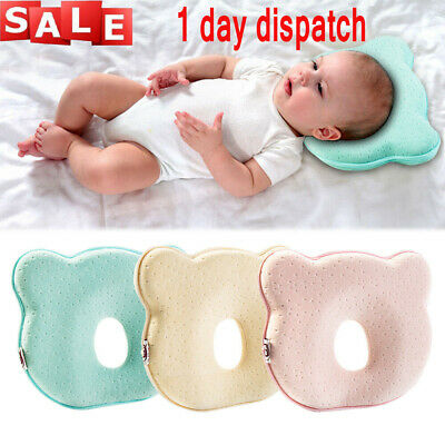 UK✔ Newborn Baby Cot Pillow Anti Roll  Infant Crib Bed Prevent Flat Head Cushion