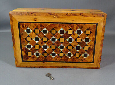 Antique Marquetry MOP Inlay Burl Wood Jewelry Trinket Box Lock Key Checkerboard