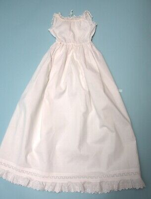 Antique Baby Christening Gown Underskirt in White cotton with lace edging