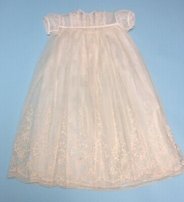 Vintage 1930s Baby Christening Gown Cream Lace with silk Underskirt
