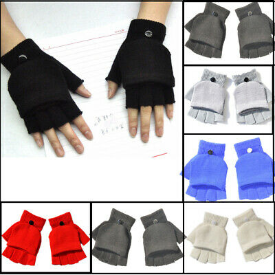 Mens Ladies Fingerless Mittens Gloves Winter Warm Flip Stretch Gloves Xmas #GL