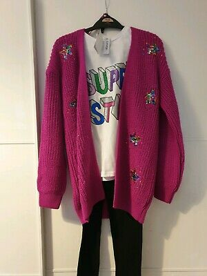 Girls 3 Piece Outfit Leggings Top And Cardigan BNWT age 9-10