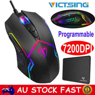 VictSing 7200 DPI Programmable Gaming Mouse USB Wired Ergonomic Optical RGB Mice