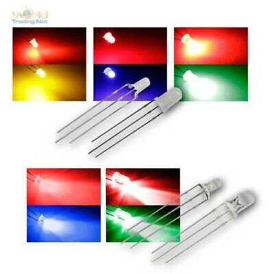 LED 3/5mm, 3-pin, Two-Tone Diffuse/Water Clear, Bicolor Leds Selection