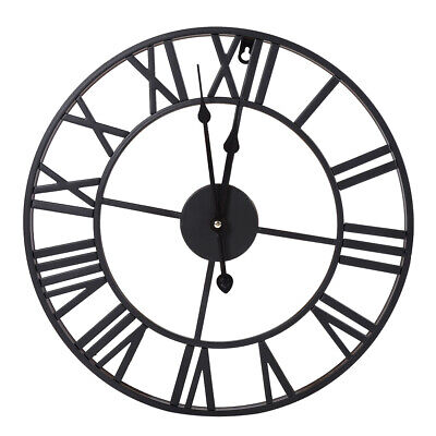 60CM Extra Large Metal Iron Round Roman Numerals Wall Clock Home Garden UK STOCK