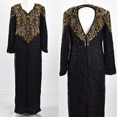 SCALA BLACK SILK 1980s VINTAGE HEAVILY BEADED LONG EVENING GLAM DRESS 14