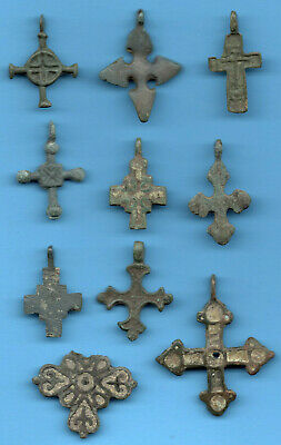 LOT OF 10 Ancient Viking Enamel Bronze Cross Kiev Russia ca 1100 Byzantine 38