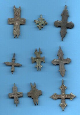 LOT OF 9 Ancient Viking Enamel Bronze Cross Kiev Russia ca 1100 Byzantine 9