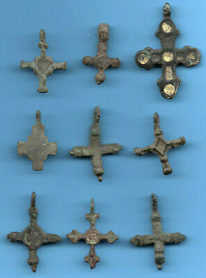 LOT OF 9 Ancient Viking Enamel Bronze Cross Kiev Russia ca 1100 Byzantine 87