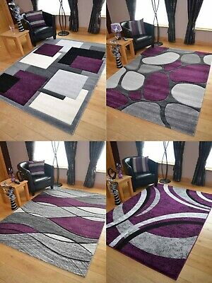 Modern Grey Purple Rugs Mat Large Small Living Area Soft Thick Hallway Runners
