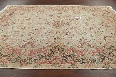 Antique Floral Oushak Turkish Area Rug Muted Vegetable Dye Oriental Carpet 7x11