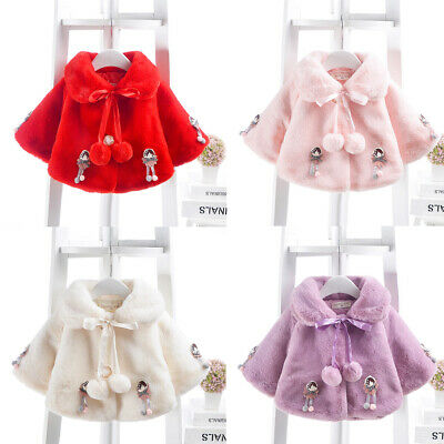 Toddler Infant Kids Baby Girls Doll Bow Thick Warm Coat Outwear Casual Clothes