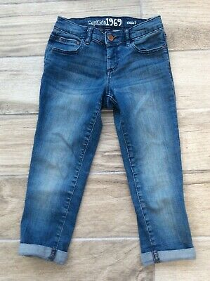 Girls Gap Cropped Jeans Age 8/9 Years Blue Adjustable Waist