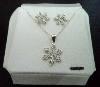 Stunning Estate Signed 925 Sterling Silver Xmas Snowflake Set $100 Card!!! G984Q