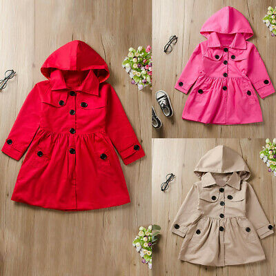 Toddler Kids Baby Girls Long Sleeve Solid Ruched Hooded Windproof Coat Outwear