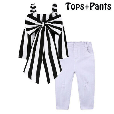White Trousers Cute Strapless Clothing  Suit Stripe Tops + Pants  Girls Sets