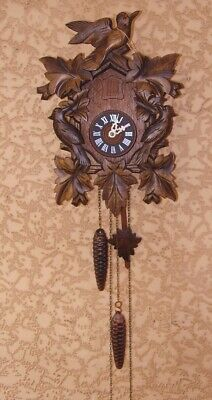 Vintage Cuckoo Clock Carved Black Forest Fine Working Order Can Be Silent