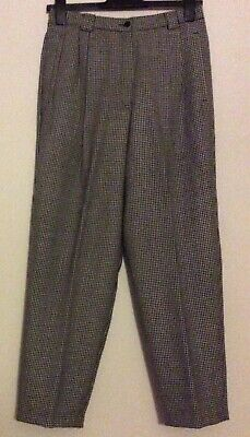 vintage 80s black & white dogtooth check wool pleated baggy tapered trousers 10