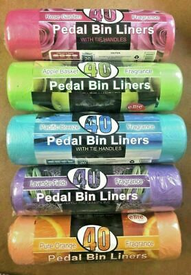 3 X 40 Scented Pedal Bin Liners 20L Bags Fragrance Refuse Waste Sack Multi Colou