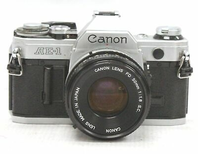 CANON AE-1 SLR Camera With Canon 50mm f/1.8 S.C FD Mount Camera Lens  - H16