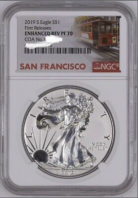 2019 S $1 ENHANCED REVERSE PROOF AMERICAN SILVER EAGLE NGC PF70 FR W COA In NGC