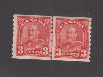 CANADA # 183 MLH KGV 3cts LINE PAIR COILS CAT VALUE $80