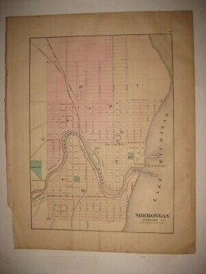 Superb Antique 1876 Sheboygan Manitowoc Wisconsin Handcolored Map Rare Fine Nr
