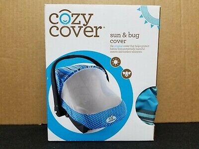 Cozy Cover - Sun & Bug Cover - Infant Carrier Cover - Dots & Stripes - Blue