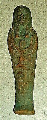 """Nice 5.5"""" Egyptian Ancient Faience Ushabti Winged Isis w Glyphs1648 to 1455 BC"""