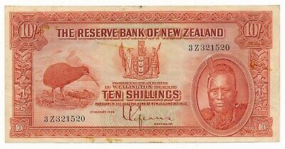 New Zealand 1934 Lefeaux 10 Shillings Note RARE Prefix 3Z Fine