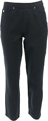 Belle Kim Gravel Stretch Twill Cropped Pants Black 16 NEW A303494